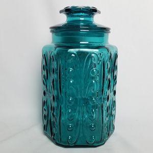 "Vintage 60s Atterbury Scroll 9"" aqua blue canister"